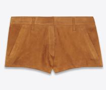 Mini-Shorts aus whiskyfarbenem Velours