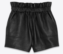Belted shorts with gathered waist in lambskin