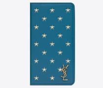 MONOGRAMME Etui für iPhone 10 aus Leder mit Sternenprint