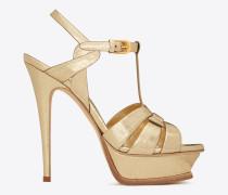 tribute 105 sandale aus hellgoldfarbenem metallic-leder mit craquelé-optik