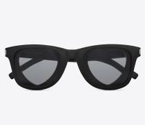 sonnenbrille classic 51 heart aus schwarzem acetat mit grauen gläsern