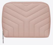loulou make-up-täschchen aus verwaschen rosafarbenem glanzleder mit y-steppnähten