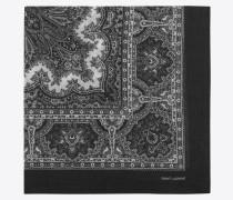 Großer, quadratischer Schal aus Challis mit schwarz-weißem Paisleymuster