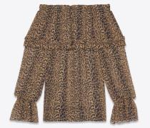 gypsy-bluse aus braunem und schwarzem seidengeorgette mit gesmockter schulterpartie und leopardentupfen