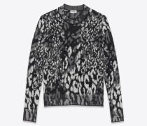 Gestrickter Rundhalspullover aus Jacquard mit Leoparden-Muster