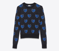 pullover aus mohair mit schwarzem, blauem und silberfarbenem herz- und blitzjacquard
