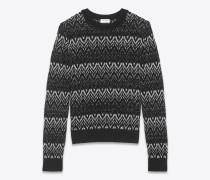 Pullover aus schwarzem und silberfarbenem Strick im Zickzackmuster