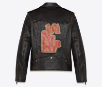 Biker-Jacke aus schwarzem Vintage-Leder mit abgenutzter Optik und 1971-Print