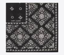 Schal mit Folk-Print aus schwarzem und elfenbeinfarbenem Wollmousselin