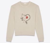 Sweatshirt aus beigem Baumwollfleece mit Schlangenherzprint