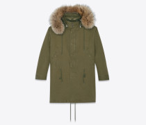 oversized parka in cotton gabardine and racoon fur