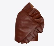 asymmetrischer minirock aus camelbraun glänzendem vintage-leder mit rüschen