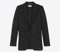 Einreihige lange Jacke aus Lamé-Tweed mit Pailletten