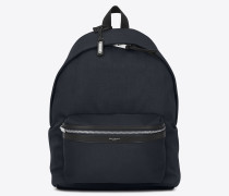 city backpack in nylon canvas and leather
