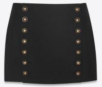 minirock mit doppelter knopfreihe aus schwarzer wollgabardine