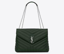 Mittlere Loulou Tasche aus dunkelgrünem Y-Matelassé-Leder