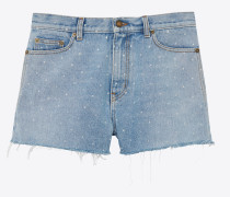 Baggy Shorts in star print denim
