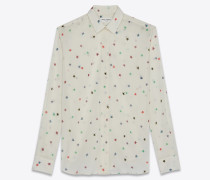 Wool challis shirt with star embroidery