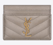 MONOGRAM card case in opalescent grain de poudre embossed leather