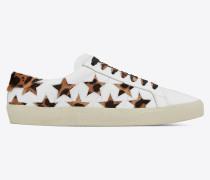 Court Classic SL/06 Sneakers aus weißem Leder und Kalbsleder mit Gepardentupfen