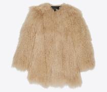 Mantel aus beigefarbenem Ziegenfell
