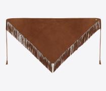 Dreieckiger Schal aus hellbraunem Velours mit Fransen