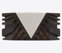 Dreieckiger Armreif aus braunem Holz und verspiegeltem Metall