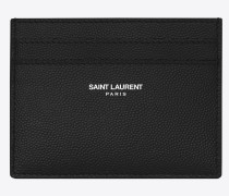 saint laurent paris karten etui aus schwarzem leder mit struktur