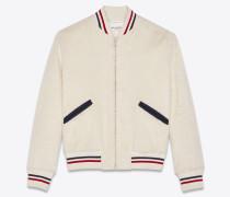 Varsity-Jacke aus elfenbeinfarbenem Plüsch