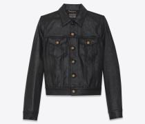Jacke aus glänzend schwarzem Denim