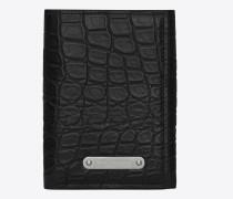id portemonnaie mit drei kompartimenten aus schwarzem, mattem und glänzendem leder mit krokodillederprägung