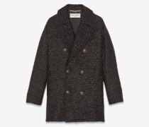 Kurzer Cabanmantel aus schwarzem und goldenem Lamé-Tweed