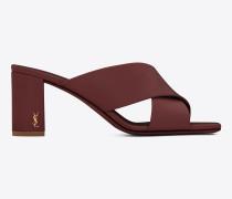 loulou 70 sandale aus hell burgunderrotem leder mit überkreuzten riemchen