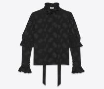 Bluse aus schwarzer Seide mit Blumenmotiv