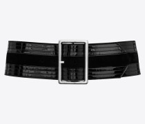 PALACE wide belt in patent leather and suede