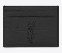 saint laurent kreditkartenetui aus schwarzem lackleder mit krokodillederprägung