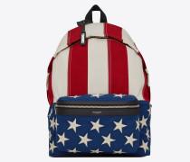 CITY Rucksack aus Canvas mit amerikanischem Flaggenprint