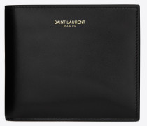 saint laurent paris east/west portemonnaie aus schwarzem leder