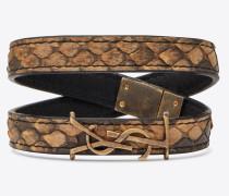 YSL-Doppelwickelarmband aus natürlichem Schlangenleder und goldfarbenem Metall