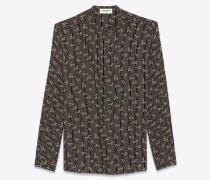 hemd aus schwarzer crêpe-de-chine mit paisley-motiv und tunikakragen