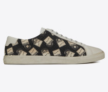 Andy sneaker in record-print canvas and leather