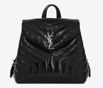 kleiner loulou rucksack aus schwarzem lackleder mit y-matelassé-nähten