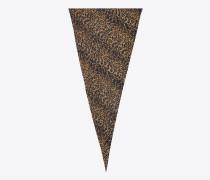 diamantförmiger schal aus beigem und schwarzem etamin mit leopardenprint
