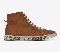 halbhoher joe sneakers aus cognacfarbenem leder