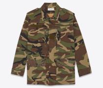 Army-Parka aus Gabardine mit Camouflage-Print und Nieten