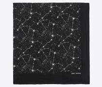 Large square scarf in wool muslin with constellation print