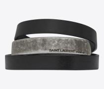 nomade dreifaches armband aus schwarzem leder und metall