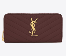 Large Monogram zip wallet in textured and quilted leather