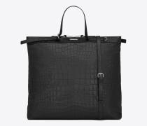 ID Shoppertasche aus schwarzem Leder mit Krokodillederprägung