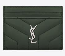 Loulou Kartenetui aus dunkelgrünem Glanzleder mit Y-Steppnähten